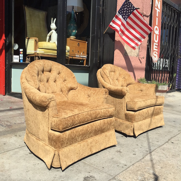 Pair of Vintage Chenille Club Chairs