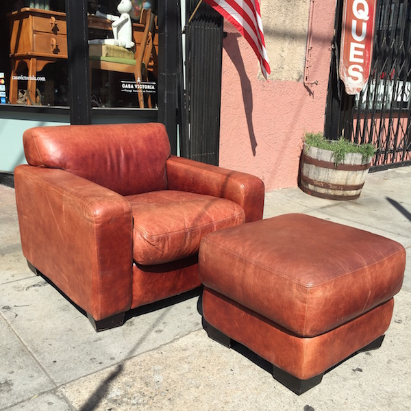 Vintage Club Chair and Ottoman