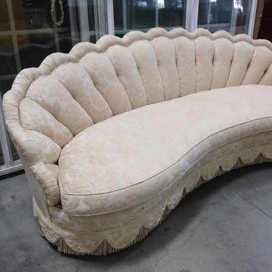 Custom Made Scalloped and Curved Regency Sofa