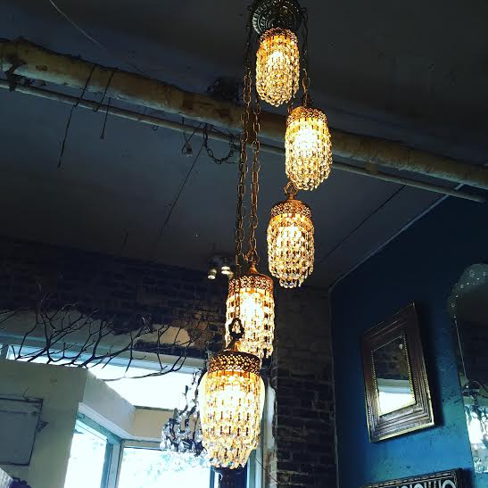 Pair of 1960s Crystal Swag Lights