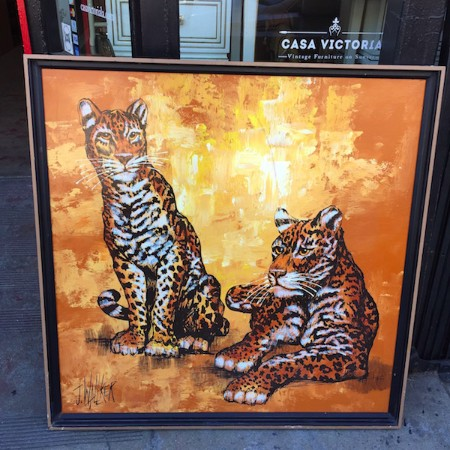 1975 Large Painting of Leopards