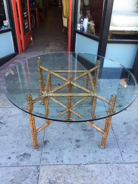 Vintage Dining Table With Bamboo Base