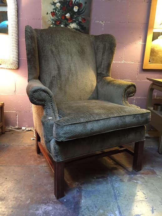 Vintage Chenille Wing Chair