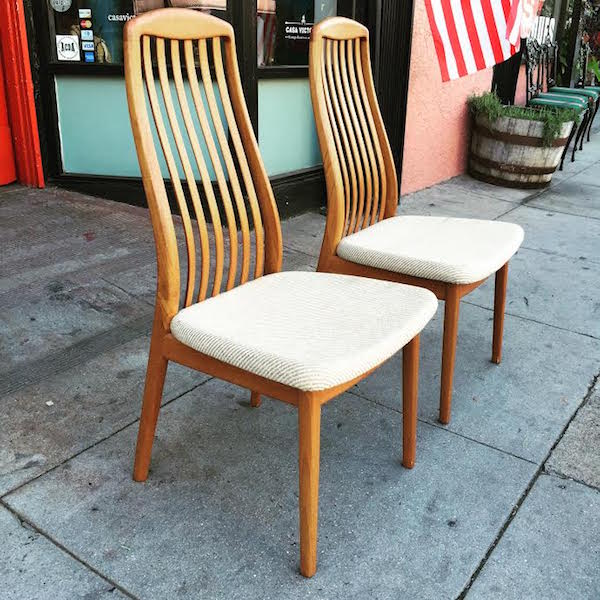 Pair of 1980s High Back Teak Chairs