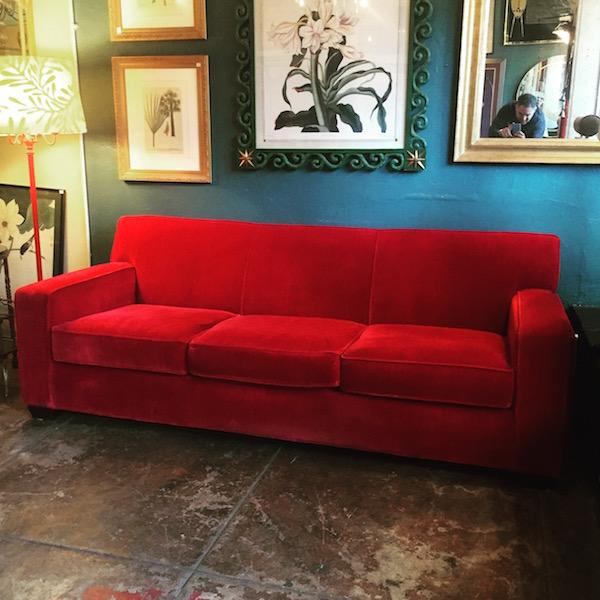 Classic-style Red Velvet Sofa