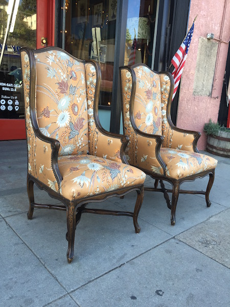 Pair of High Back Wing Chairs