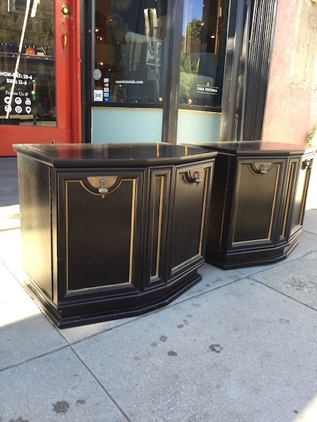 Pair of Black Andalusian-style Night Stands