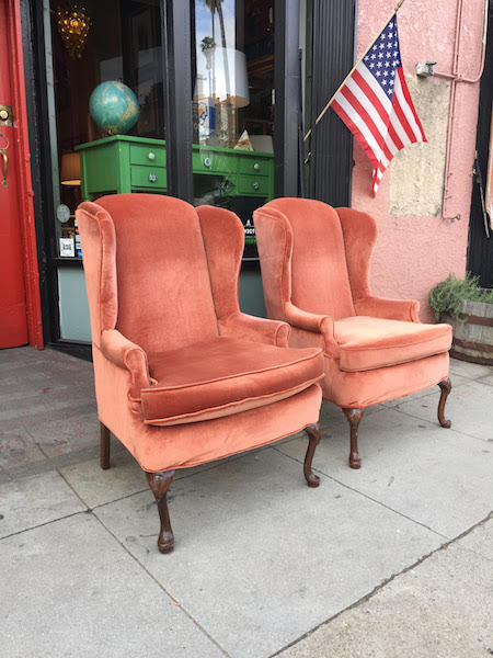 Pair of  Copper Velvet Wing Chairs