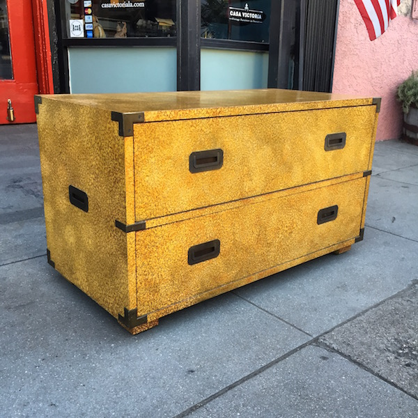1970s Lacquered Campaign Chest by Henredon
