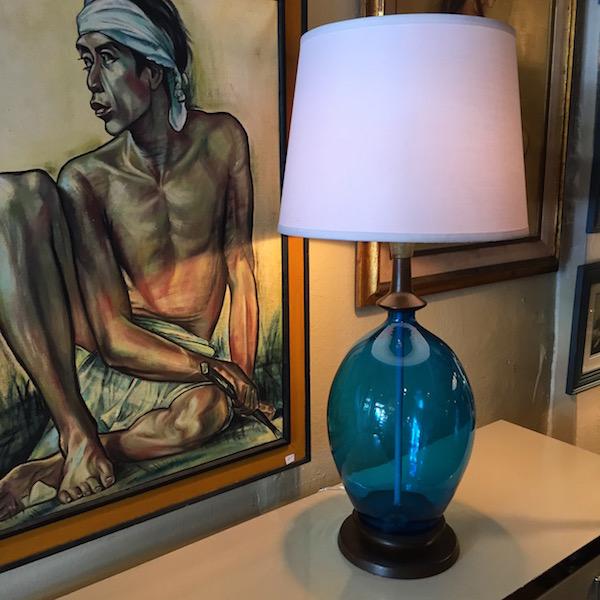 Blue Mid-century Glass Lamp