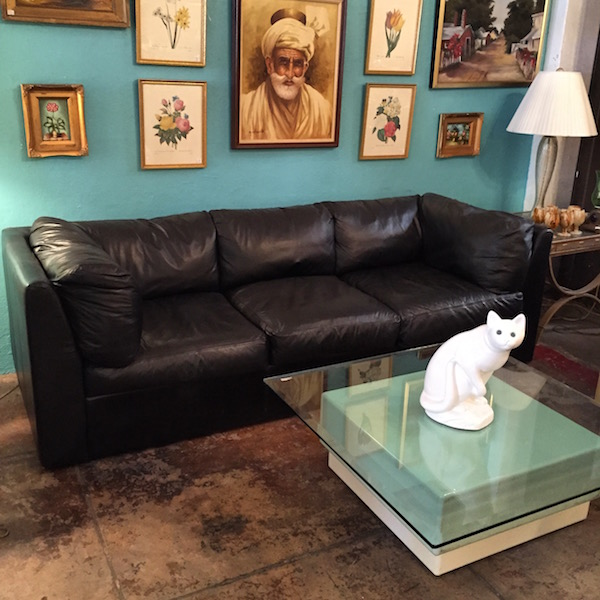 Vintage Leather Tuxedo Sofa by Natuzzi