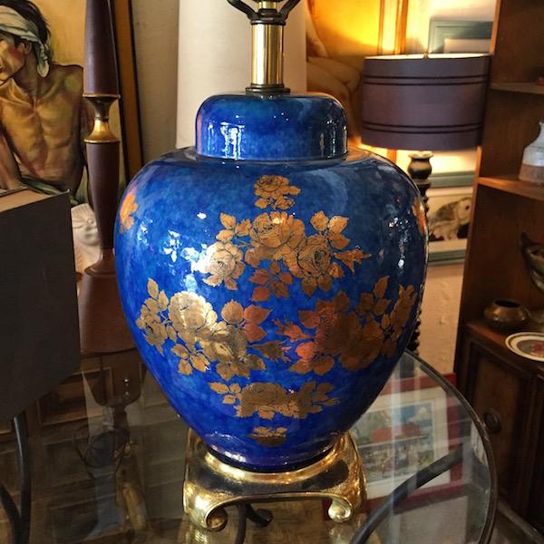 1970s Cobalt Blue Ceramic Lamp
