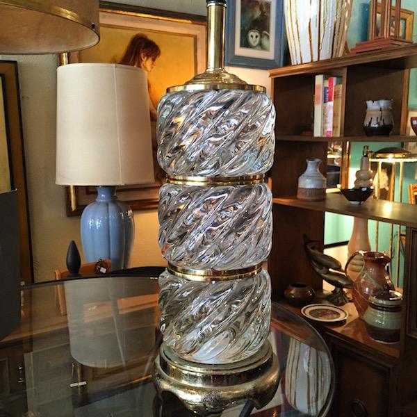 1970s Glass Block Lamp