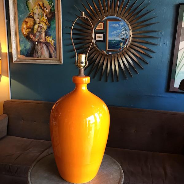 1970s Orange Ceramic Lamp