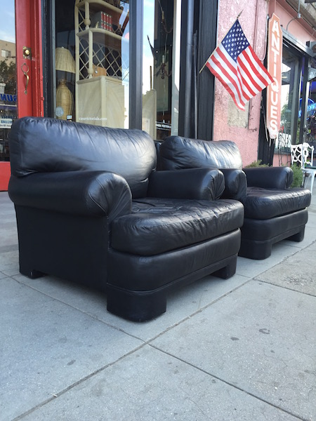Pair of Custom Made 1980s Leather Club Chairs