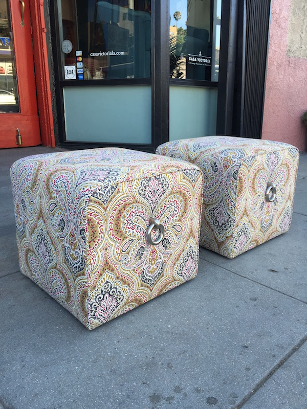Set of Two Wheeled Ottomans by Vanguard Furniture