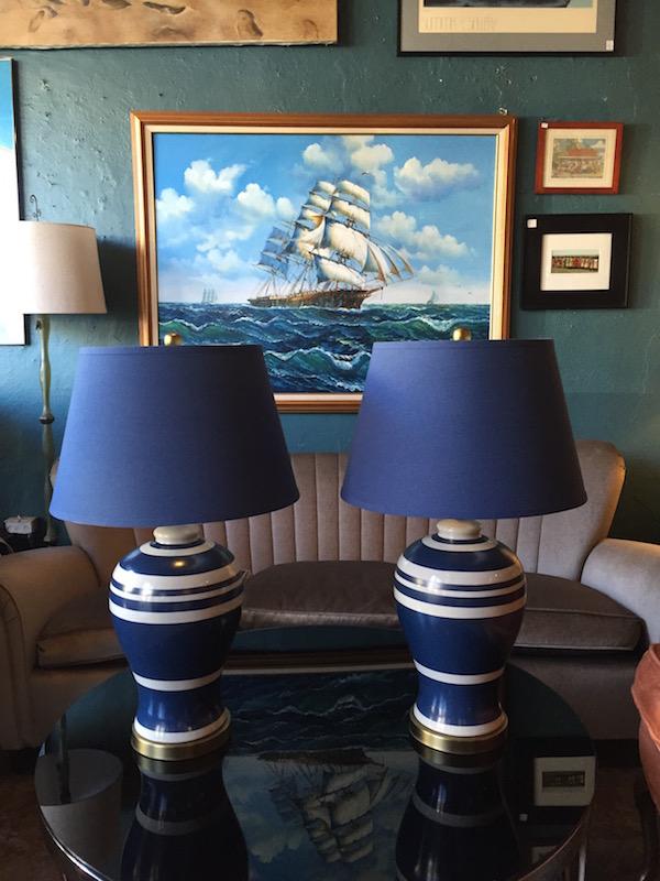 Pair of Nautical Ceramic Lamps