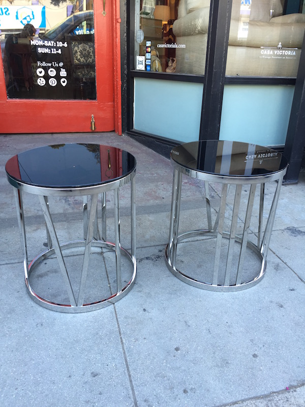 Pair of Stainless Steel Roman Numeral End Tables by Xcella