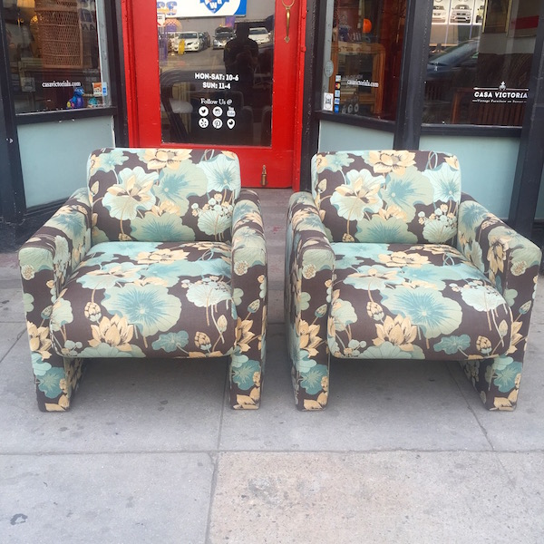 Pair of 1980s Floral Print Club Chairs