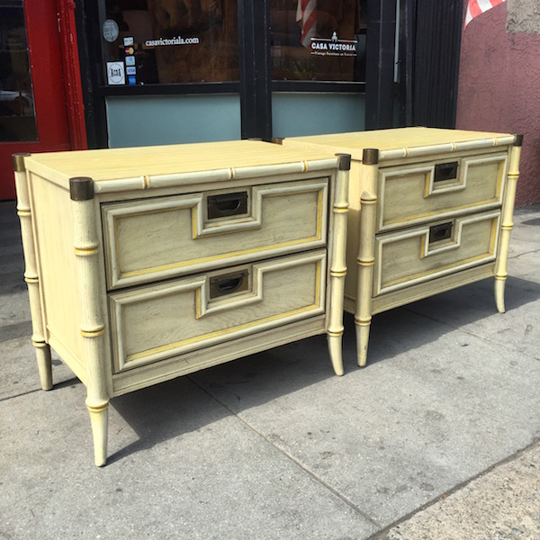 Pair of 1980s Faux Bamboo Night Stands by STANLEY