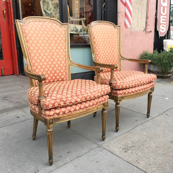 Pair of 1950s Traditional French-style Arm Chairs