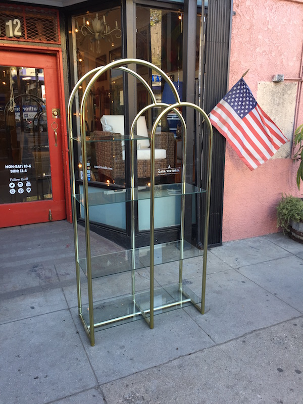 1980s Brass Finish Etagere