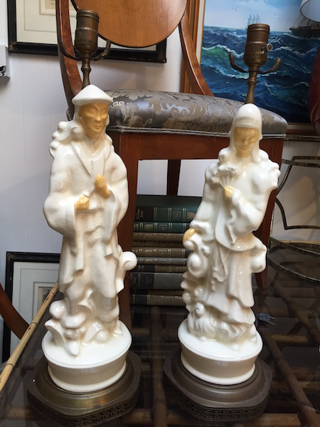 Pair of 1950s Asian-style Ceramic Lamps