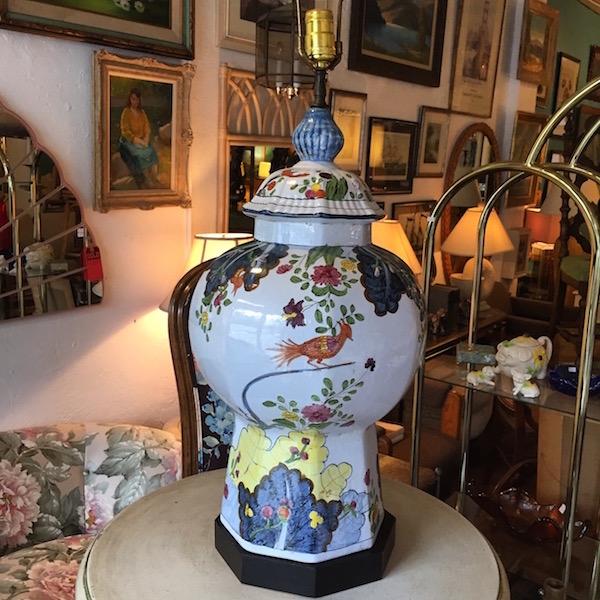 Mid-century Hand Painted Ceramic Lamp