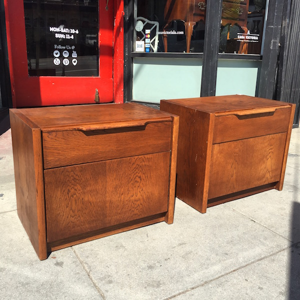 Vintage Nightstands With Drawer and Cabinet Space