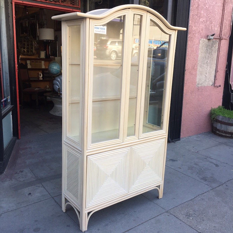 Vintage Rattan China Cabinet