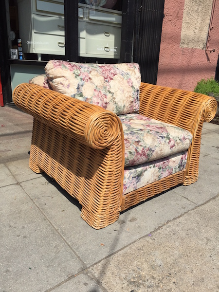 Oversized Rattan Chair with Scrolled Arms