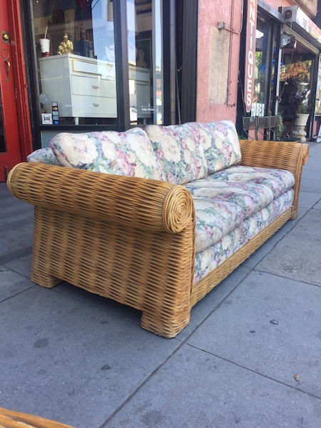 Classic 1970s Rattan Sofa with Scrolled Arms