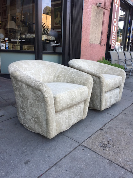 Pair of 1980s Swivel Club Chairs