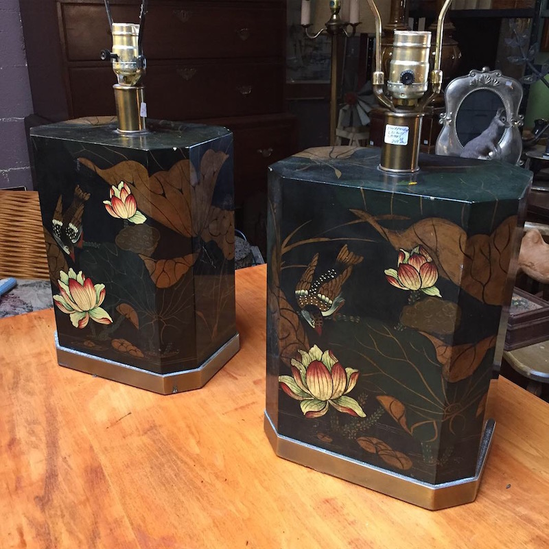 Pair of Vintage Chinese Lacquer Lamps