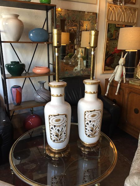 Pair of Large Mid-century Ceramic Lamps by Marboro