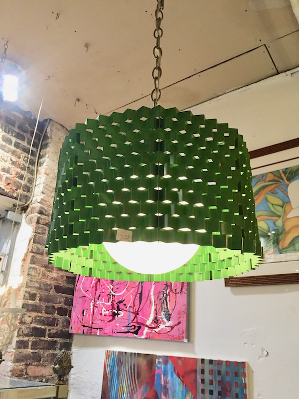 Pair of 1970s Green Cylinder Chandeliers
