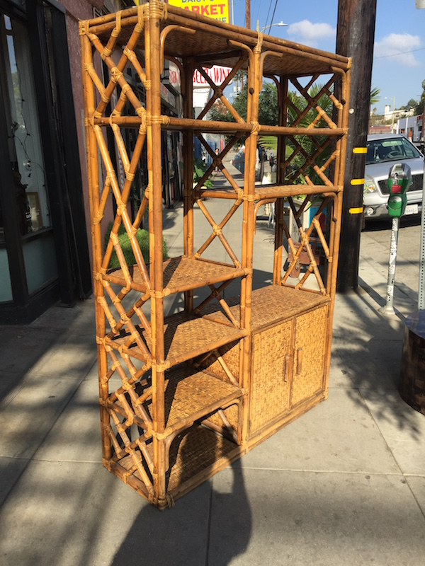 Vintage Wicker Etagere Wall Unit