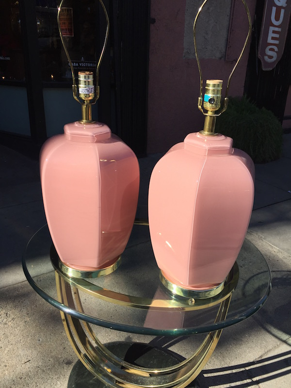 Pair of 1980s Pink Glass Lamps