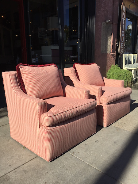 Pair of Custom Made Club Chairs With Gingham