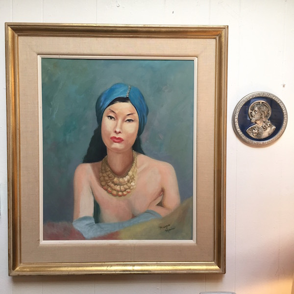Mid-century Painting of an Adorned Woman