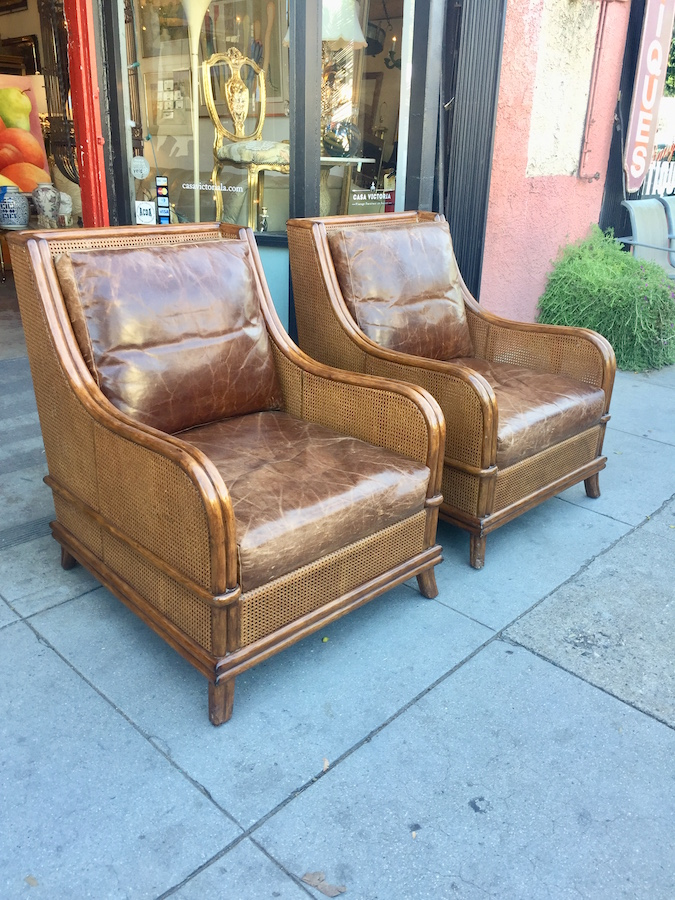 Pair of Rattan and Leather Lounge Chairs by Palecek