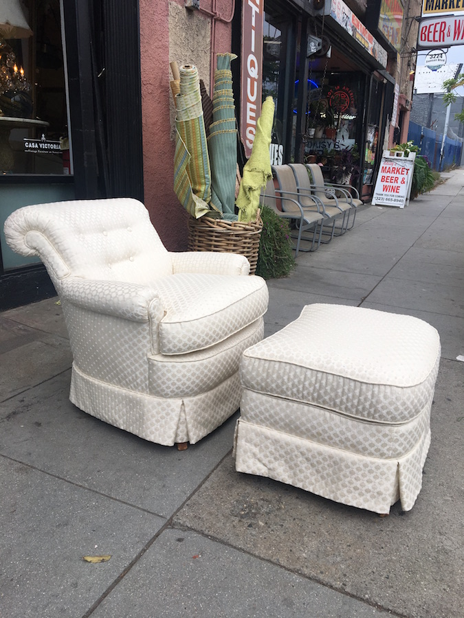 1940s Slipper Chair with Matching Ottoman