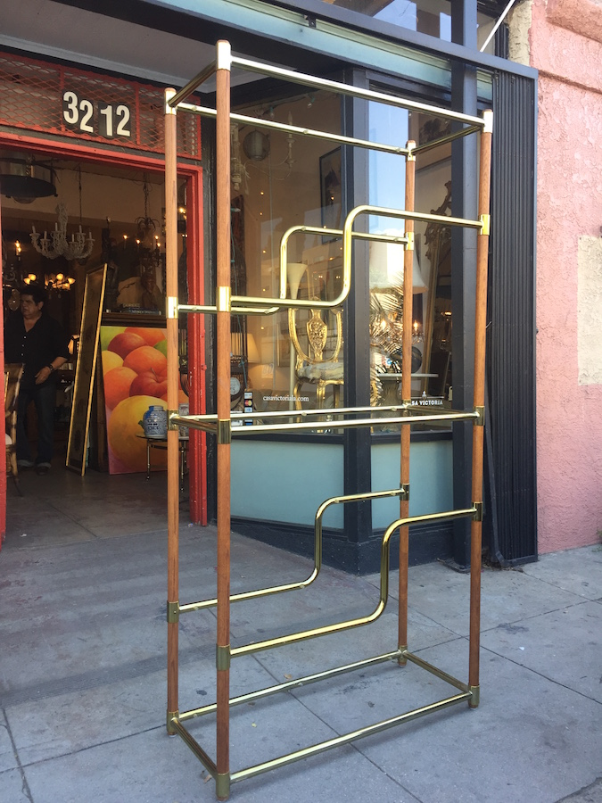 1980s Modern Brass and Wood Etagere