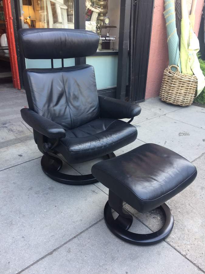 Stressless Leather Recliner and Ottoman by EKORNES