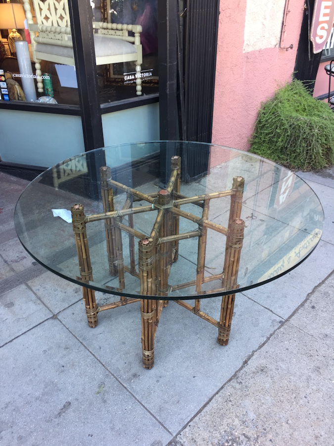 Large Rattan and Rawhide Glass Top Dining Table