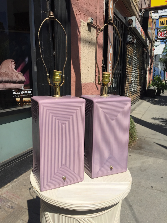 Pair of Vintage Ceramic Lamps with Mauve Hue