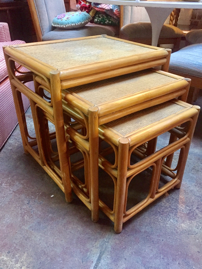 Set of Vintage Rattan Nesting Tables
