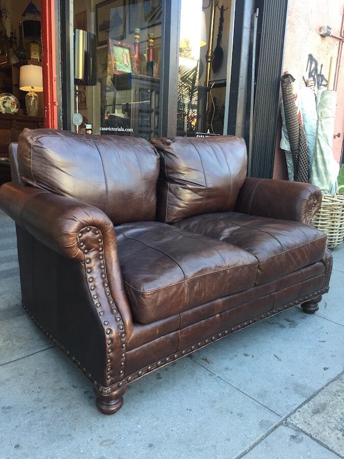 Leather Hacienda-style Love Seat