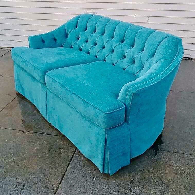 Vintage Regency Turquoise Chenille Settee