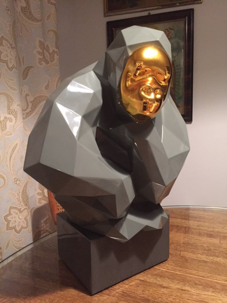 Modern Gorilla Statue with Gold Face